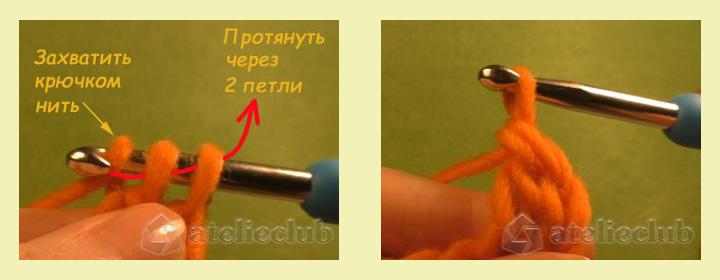SHag_5 Как вязать столбики с накидом и без накида